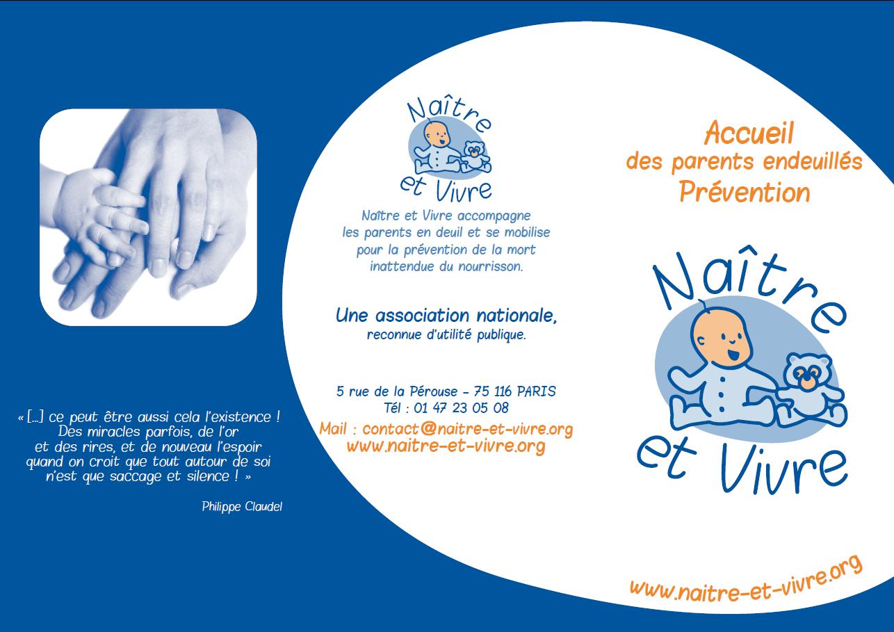 flyer de presentation de l'asso Naître et vivre (recto)